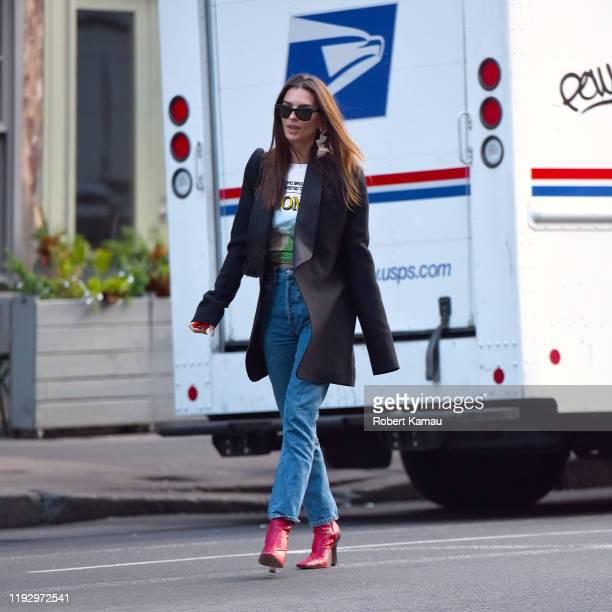 Emily Ratajkowski is seen on January 10, 2020 in New York City.