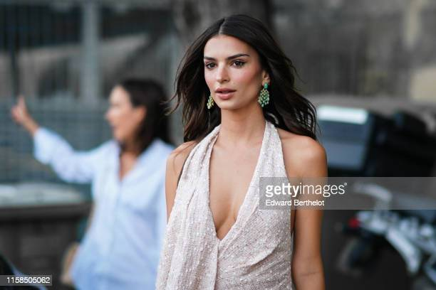 Emily Ratajkowski is seen outside the Kerastase Party At Port Debilly In Paris on June 26 2019 in Paris France