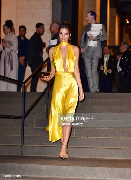 Emily Ratajkowski leaves wedding reception for Char Defrancesco and Marc Jacobs at The Grill and The Pool on April 6 2019 in New York City