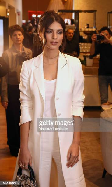 Emily Ratajkowski Meets The Audience In The Twin Set Boutique In Milan on February 21 2017 in Milan Italy