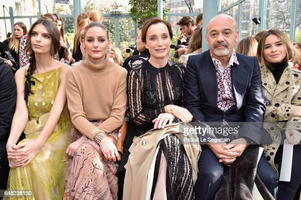 Emily Ratajkowski Olivia Palermo Kristin Scott Thomas Christian Louboutin and Miroslava Duma attend the Valentino show as part of the Paris Fashion...