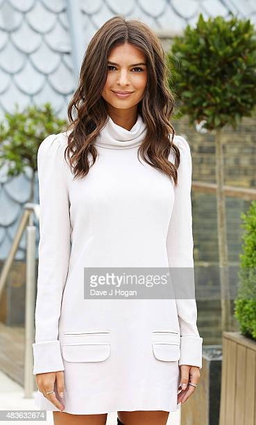 Emily Ratajkowski poses at the We Are Your Friends photocall at the Corinthia Hotel London on August 11 2015 in London England