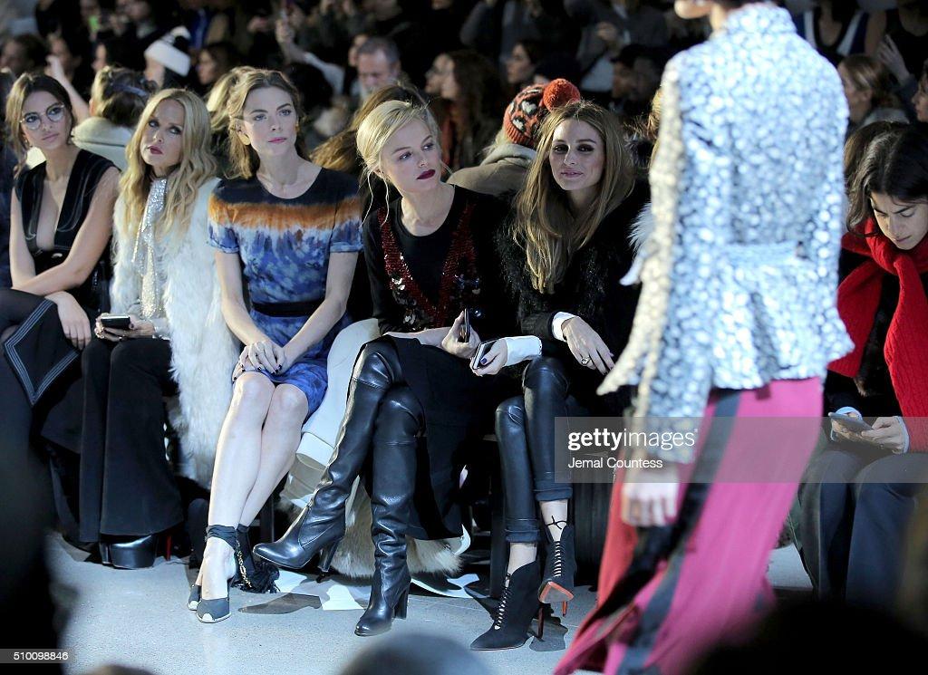 Emily Ratajkowski, Rachel Zoe, Jaime King, Kate Bosworth and Olivia Palermo attend the Altuzarra Fall 2016 fashion show during New York Fashion Week at Spring Studios on February 13, 2016 in New York City.