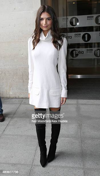 Emily Ratajkowski seen at BBC Radio One promoting her new movie 'We Are Your Friends' on August 11 2015 in London England