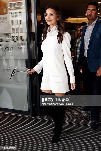 Emily Ratajkowski seen leaving the BBC Radio 1 Studios on August 11 2015 in London England
