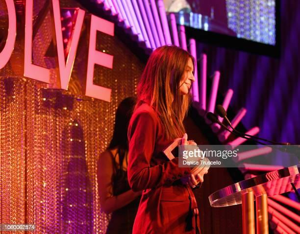 Emily Ratajkowski speaks onstage during REVOLVE Presents The 2nd Annual #REVOLVEawards at Palms Casino Resort on November 9 2018 in Las Vegas Nevada