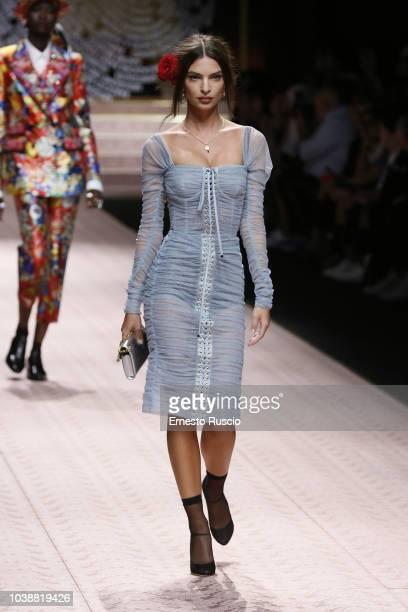 Emily Ratajkowski walks the runway at the Dolce Gabbana show during Milan Fashion Week Spring/Summer 2019 on September 23 2018 in Milan Italy