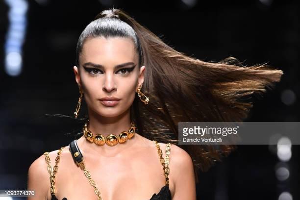Emily Ratajkowski walks the runway at the Versace show during Milan Menswear Fashion Week Autumn/Winter 2019/20 on January 12 2019 in Milan Italy