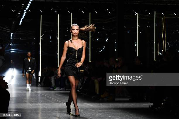 Emily Ratajkowski walks the runway at the Versace show during Milan Menswear Fashion Week Autumn/Winter 2019/20 on January 12 2019 in Milan Italy