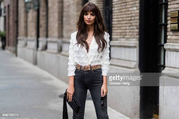 Emily Ratajkowski wearing ruffled blouse, skinny denim jeans seen in the streets of Manhattan outside Marc Jacobs during New York Fashion Week on...