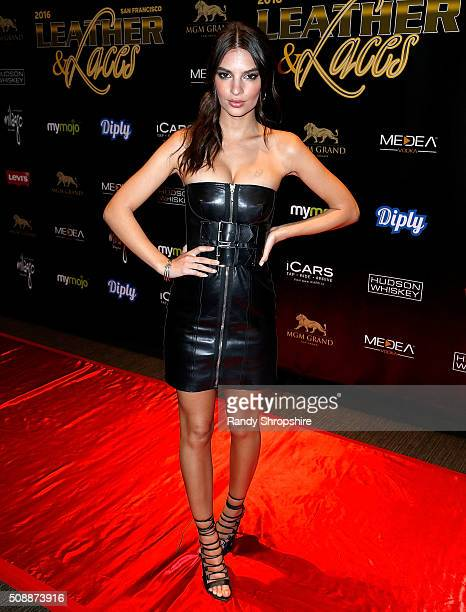 Emily Ratajowski arrives to the 13th annual 'Leather Laces' mega party at Super Bowl 50 Night 2 at Metreon on February 6 2016 in San Francisco...