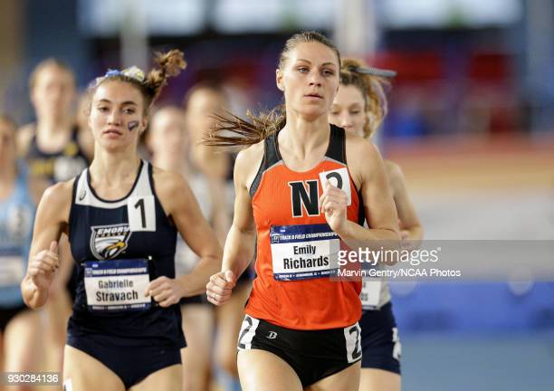 Emily Richards of Ohio Northern University competes Gabrielle Stravach of Emory University in the mile run during the Division III Men's and Women's...