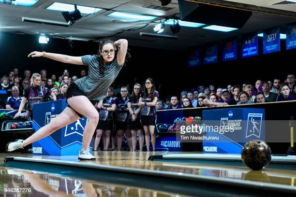 Emily Rigney of Vanderbilt University bowls during the Division I Women's Bowling Championship held at Tropicana Lanes on April 14 2018 in Clayton...