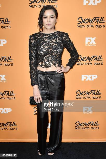 """Emily Rios attends the Premiere Of FX's """"Snowfall"""" - Arrivals at The Theatre at Ace Hotel on June 26, 2017 in Los Angeles, California."""