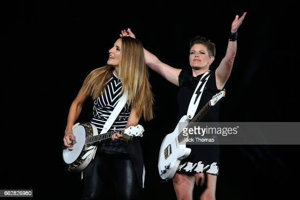 Emily Robison and Natalie Maines of The Dixie Chicks perform at Rod Laver Arena on April 1 2017 in Melbourne Australia