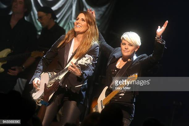 Emily Robison and Natalie Maines of the Dixie Chicks perform in concert during the Mack Jack McConaughey charity gala at ACL Live on April 12 2018 in...
