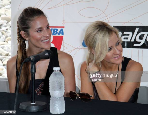 Emily Robison Martie Maguire and and Miranda Lambert attend the 2010 Lilith Fair press conference at Verizon Wireless Music Center on July 20 2010 in...
