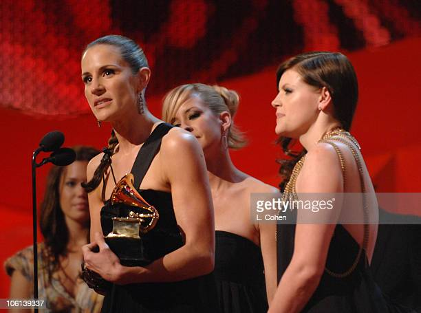 Emily Robison Martie Maguire and Natalie Maines of The Dixie Chicks accept Best Country Album for 'Taking The Long Way'