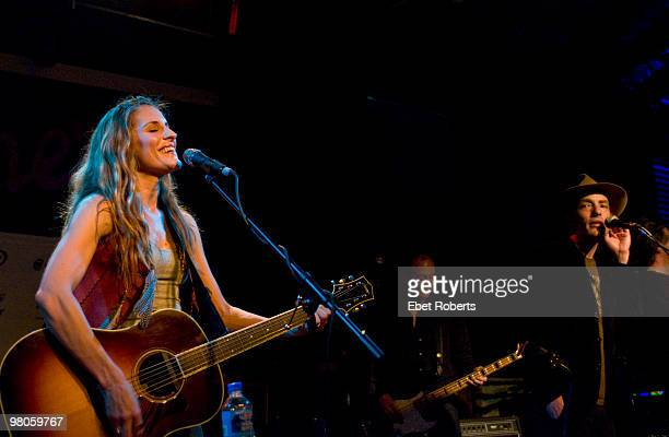 AUSTIN TX MARCH 18 Emily Robison of The Court Yard Hounds and Jakob Dylan perform at Antone's during day two of SXSW Festival on March 18 2010 in...