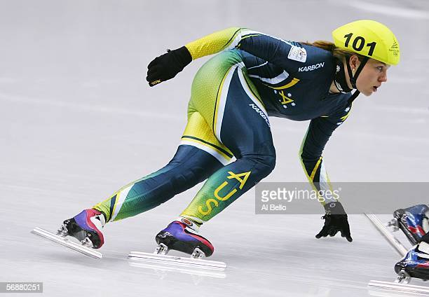 Emily Rosemond of Australia races in her heat of the women's short track speed skating on Day 8 of the 2006 Turin Winter Olympic Games on February...