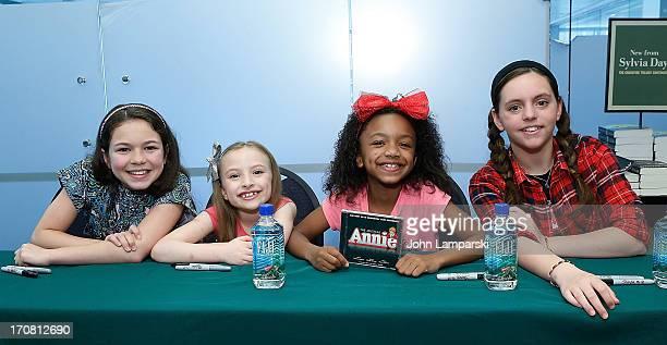 Emily Rosenfeld Georgi James Tyrah Skye Odoms and Madi Rae Dipietro attend the AnnieThe Musical Cast Album Signing at Barnes Noble Citigroup Center...