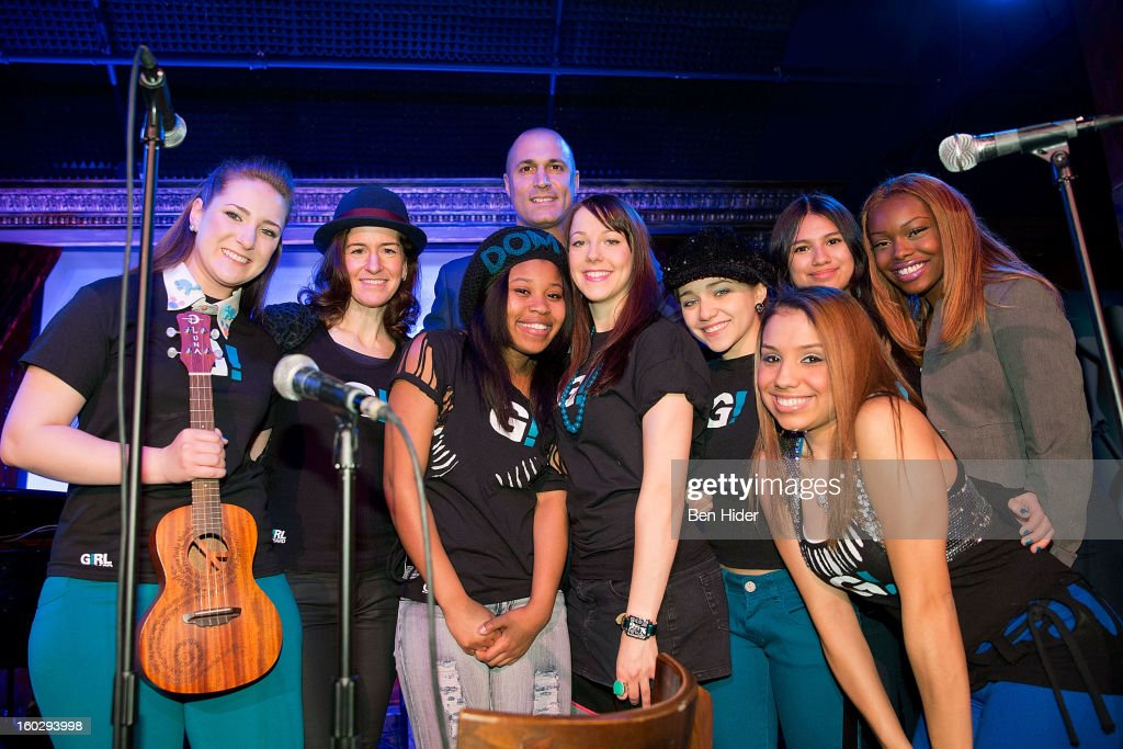 Emily Rupp, Jessica Morris, Dominique Fishback, Nigel Barker, Camille Theobald, Tiff Roma, Karen Vigo, Isabella Olaguera and Breani Michelle attend 'Girl Be Heard' Rebranding Launch Event at The Cutting Room on January 28, 2013 in New York City.