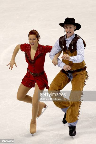 Emily Samuelson and Evan Bates compete in the original dance competition during the US Figure Skating Championships at Spokane Arena on January 22,...