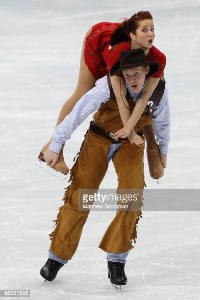 Emily Samuelson and Evan Bates of the USA compete in the figure skating ice dance original dance on day 10 of the Vancouver 2010 Winter Olympics at...