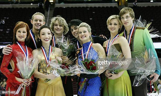 Emily Samuelson and Evan Bates;Meryl Davis and Charlie White;Kimberly Navarro and Brent Bommentre, Madison Hubbell and Keiffer Hubbell pose with...