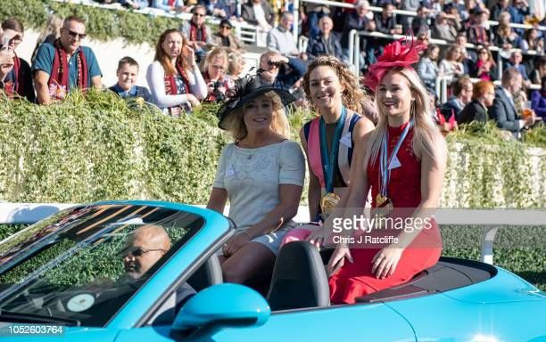 Emily Sarsfield Amy Williams and Katie Ormerod attend the QIPCO British Champions Day at Ascot Racecourse on October 20 2018 in Ascot England