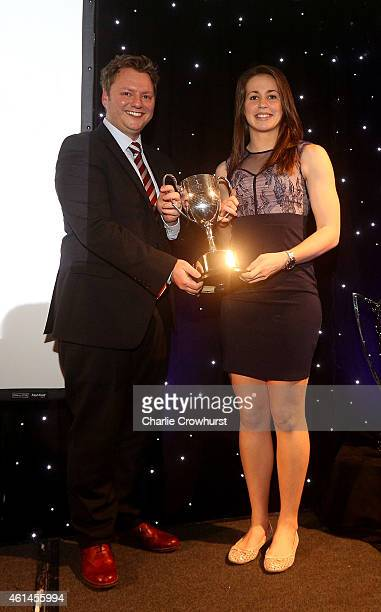 Emily Scarratt accepts the Pat Marshall Award during the Rugby Union Writers Club Annual Dinner Awards Evening at The Marriott Hotel Grosvenor Square...