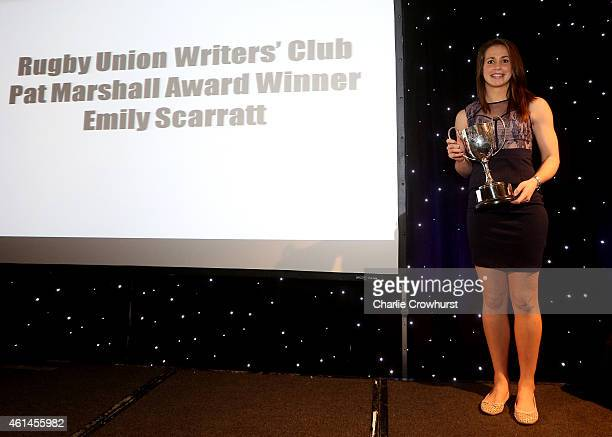 Emily Scarratt collects the Pat Marshall Award during the Rugby Union Writers Club Annual Dinner Awards Evening at The Marriott Hotel Grosvenor...