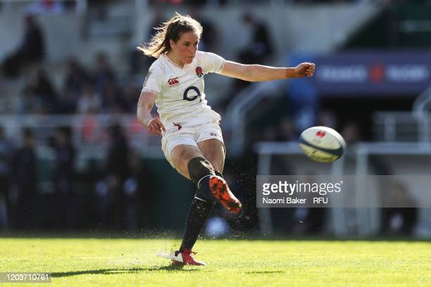 Emily Scarratt of England converts a try during the Women's Six Nations Tournament match between France and England on February 02 2020 in Pau France