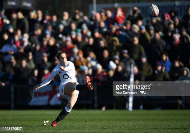 Emily Scarratt of England converts her sides first try during the Women's Six Nations match between England and Ireland at Castle Park on February 23...