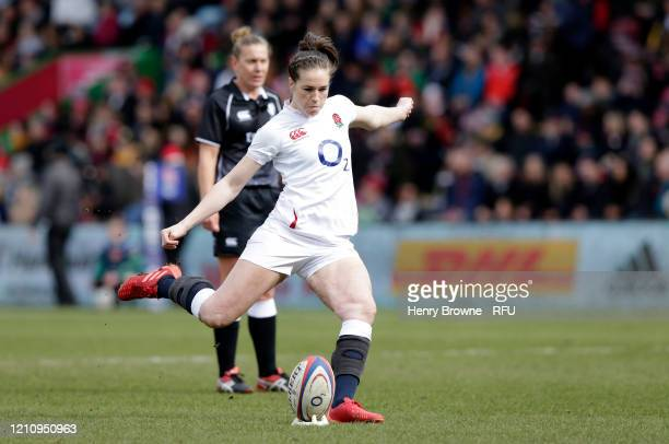 Emily Scarratt of England converts her sides first try during the Women's Six Nations match between England and Wales at Twickenham Stoop on March 07...