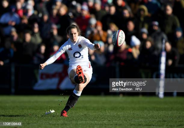 Emily Scarratt of England converts the first England try during the Women's Six Nations match between England and Ireland at Castle Park on February...