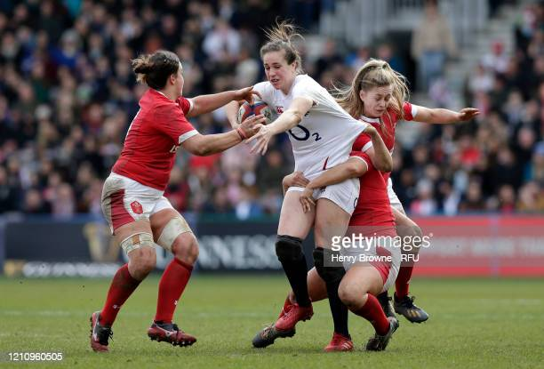 Emily Scarratt of England goes into contact during the Women's Six Nations match between England and Wales at Twickenham Stoop on March 07 2020 in...