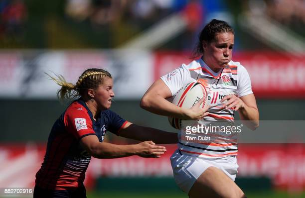 Emily Scarratt of England in action during the match between England and Russia on Day One of the Emirates Dubai Rugby Sevens HSBC Sevens World...