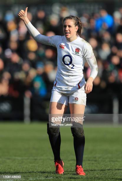 Emily Scarratt of England in action during the Women's Six Nations match between England and Ireland at Castle Park on February 23 2020 in Doncaster...