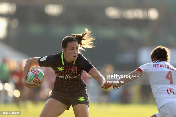 Emily Scarratt of England in action on day one of the Emirates Dubai Rugby Sevens HSBC World Rugby Sevens Series at The Sevens Stadium on November 29...