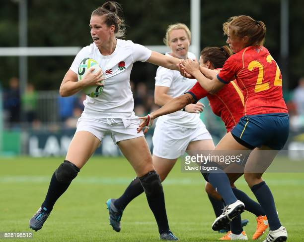 Emily Scarratt of England is tackled during the Women's Rugby World Cup 2017 match between England and Spain on August 9 2017 in Dublin Ireland