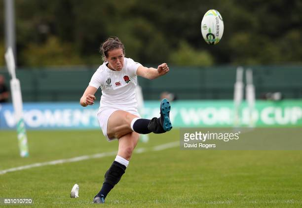 Emily Scarratt of England kicks a conversion during the Women's Rugby World Cup 2017 between England and Italy on August 13 2017 in Dublin Ireland