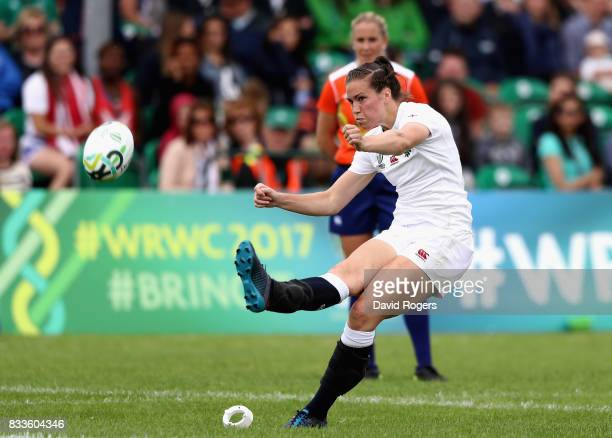 Emily Scarratt of England kicks a conversion during the Women's Rugby World Cup Pool B match between England and USA at Billings Park UCB on August...