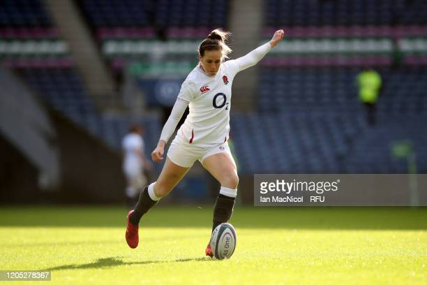 Emily Scarratt of England kicks a conversion during the Women's Six Nations match between Scotland and England at Murrayfield Stadium on February 10...