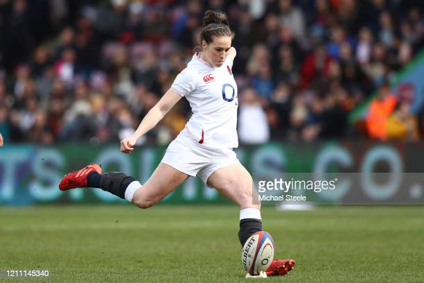 Emily Scarratt of England kicks a conversion during the Women's Six Nations match between England and Wales at Twickenham Stoop on March 07 2020 in...
