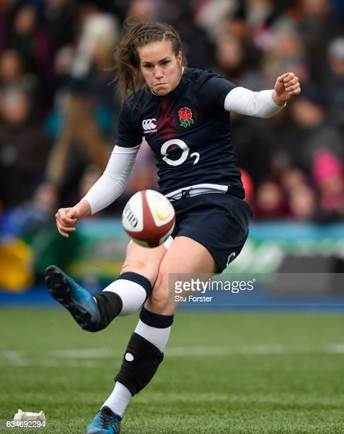 Emily Scarratt of England kicks a conversion during the Womens Six Nations match between Wales and England at the Cardiff Arms Park on February 11...