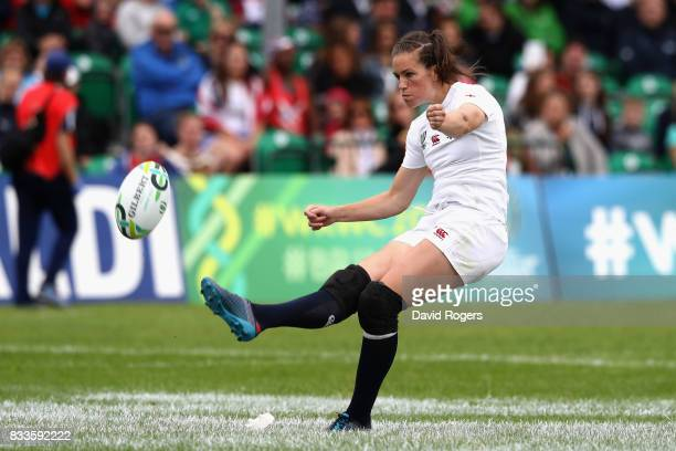 Emily Scarratt of England kicks a conversion from her own try during the Women's Rugby World Cup Pool B match between England and USA at Billings...