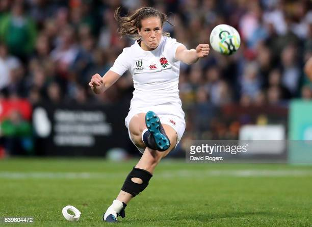 Emily Scarratt of England kicks a penalty during the Women's Rugby World Cup 2017 Final between England and New Zealand on August 26 2017 in Belfast...