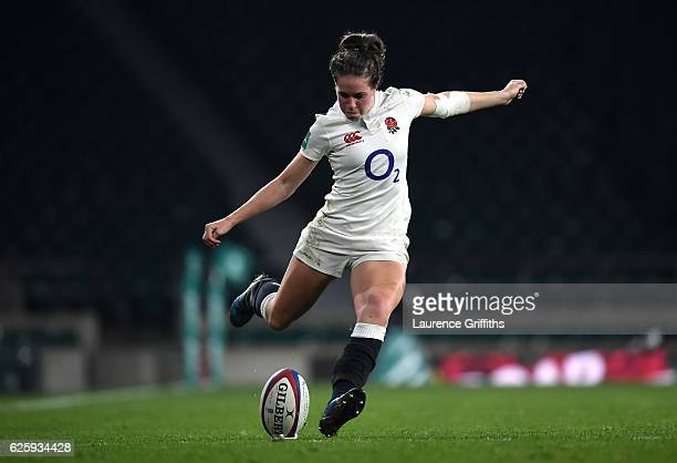 Emily Scarratt of England kicks at goal during the Old Mutual Wealth Series Women's match between England and Canada at Twickenham Stadium on...