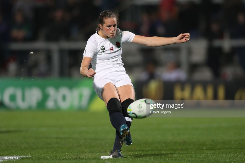 Emily Scarratt of England kicks her team's second penalty during the Women's Rugby World Cup 2017 Semi Final match between England and France at the Kingspan Stadium on August 22, 2017 in Belfast, United Kingdom.